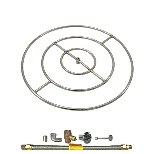 Spotix HPC Round Fire Pit Burner Kit (FPS36HCKIT-NG-MSCB), 36-Inch Burner, Match Light, Natural Gas