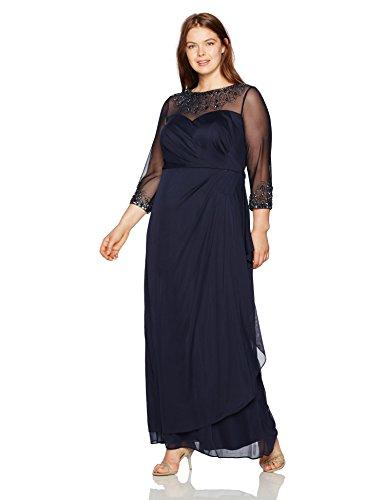 Alex Evenings Women's Plus Size Long Sleeve Sweetheart Neckline Dress, Dark Navy, 16W