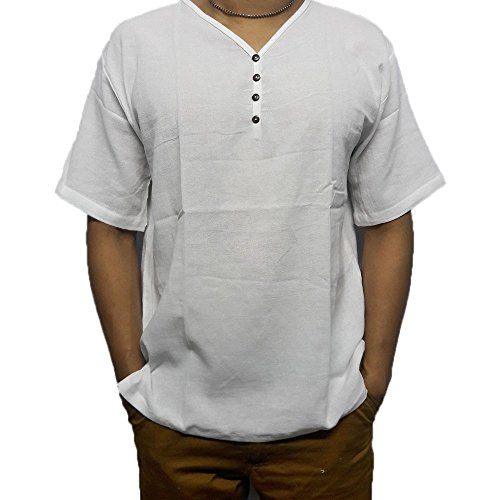 White Men's Shirt V-Neck Thai Cotton Casual Summer Hippie Beach Yoga PJ (XL)