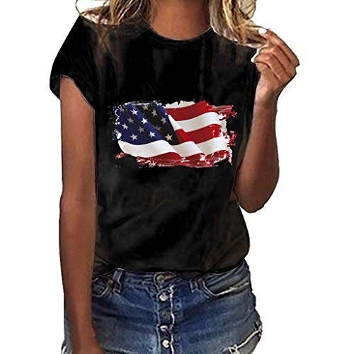 RAINED-Women Short Sleeve T Shirt Print Top O-Neck Tees 4th July Tops Retro American Flag Tees Patriotic Tunic Shirts Black