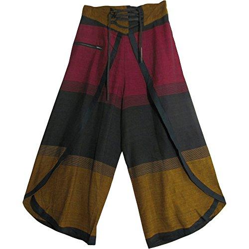 Bohemian Gypsy Hippie Yoga Plaid Palazzo Gaucho Wrap Pants (Plaid Gaucho Pant)