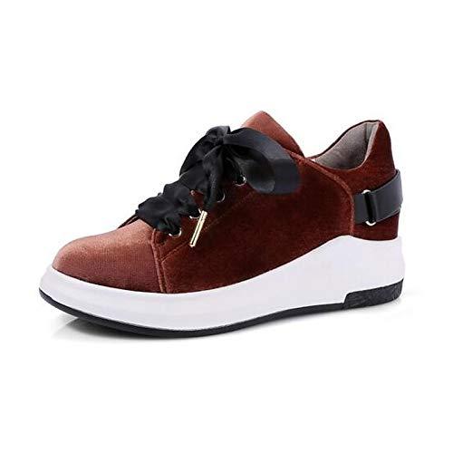 chiusa Estate Rosso Tacco Scarpe Camoscio Brown ZHZNVX Marrone Verde Sneakers piatto donna da Comfort Punta fvcw74gq