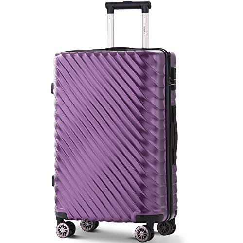 Merax Hard Luggage Lightweight Spinner Suitcases 4 Wheels Spinner Durable ABS+PC Trolley Travel Case with Lock (20/24/28…