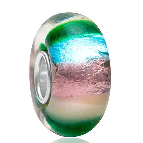 (Ollia Jewelry Lampwork Murano Glass Beads The Color of Our Life Charm with 925 Sterling Silver Core Sweet Dream Charm Multicolor Foil Charms)