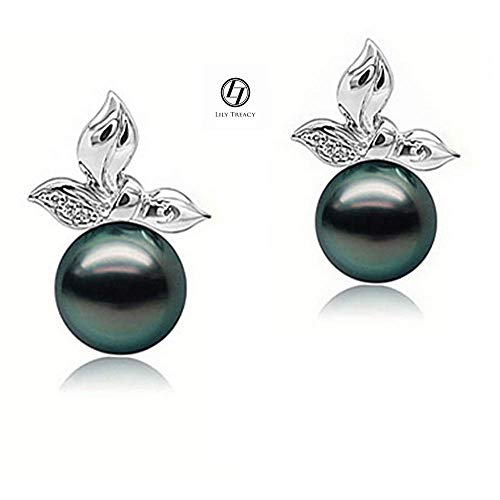 LilyTreacy 10-11mm Tahitian pearl ear studs earrings in Solid Gold & Diamond Tia - Tahitian Pave Ring