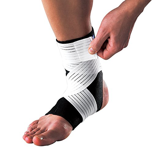 - LP SUPPORT 728 - Ankle Support with Strap- Neoprene Ankle Brace - Reduce Pain and Stiffness for Ankle Sprain and Swelling - Extra Strap for Compression (M)