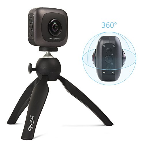VR 360 Camera, OKAA LIFE Wireless Panoramic Camera IPX4 Waterproof with Dual Wide Angle Fisheye Lens for Android and iOS Black