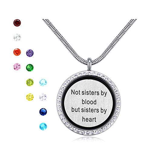 (Engravery Sister Love Plate with 12 Birthstones Stainless Steel Floating Locket Pendant Necklace Good Gift for Little Middle Big Sis)
