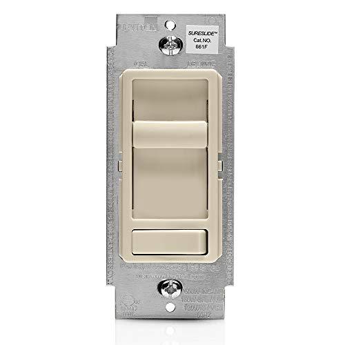 Leviton 661F-10T 1.5 Amp SureSlide Single-Pole or 3-Way Fan Quiet Control, Light Almond
