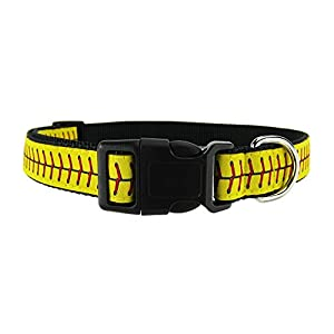 DOG & COMPANY Softball Laces Pattern – 1″ Wide Heavy Duty Adjustable Pet Collar