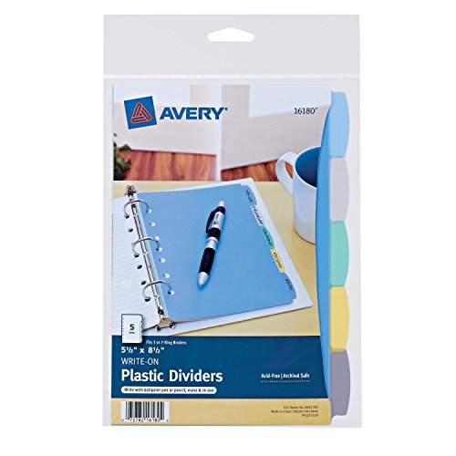Top Avery Mini Plastic Durable Write-On Dividers, 5.5 x 8.5 Inches, 5 Tabs, 1 Set (16180) for cheap