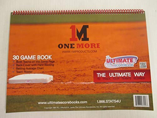 1M One More Ultimate Baseball Softball Scorekeeper Scorebook 30 Game Stats ()