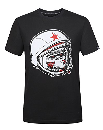 (Cool Monkey with Helmet Graphic Funny Tees for Men Novelty Men's T Shirt Fashion Black Casual Shirt Short Sleeve (L, Black))