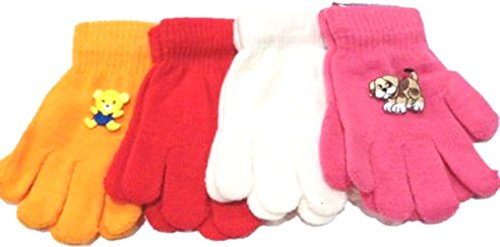 Set of Four Pairs One Size Stretch Magic Gloves for Children Ages 1-4 Years by Dylan
