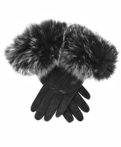 Fratelli Orsini Women's Italian Fox Fur Cuff Cashmere LIned Leather Gloves Size 7 Color Black by Fratelli Orsini