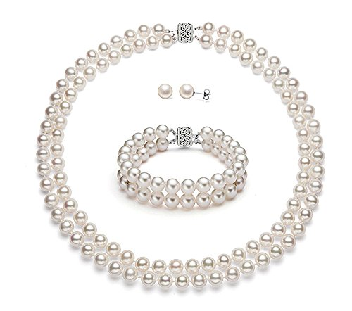 14k White Gold Double Strand White Freshwater Cultured Pearl Set AAAA Quality (6.5-7mm) ()