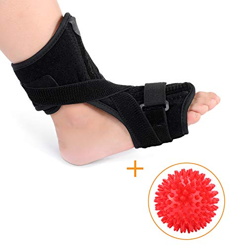 Plantar Fasciitis Night Splint Brace, Drop Foot Orthotic Brace with Hard Spiky Massage Ball for Effective Relief from Tendon Stretch, Achilles and Heel Spur Relief, Fits Left or Right Foot ()