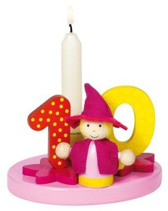 holzzwerge Goki Geburtstagskranz mit Zahlen 1-9+0 mit 10 Kerzen fü r Mä dchen (rosa)