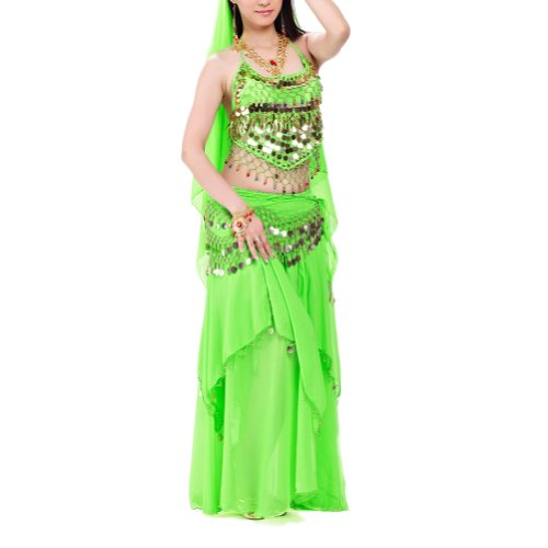 BellyLady Halloween Belly Dance Costume, Halter Bra Top, Hip Scarf and Skirt-Green ()