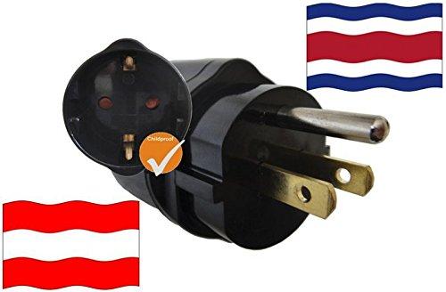 Adaptador Costa Rica Protección infantil y protección de contacto para dispositivos de Austria 250 V