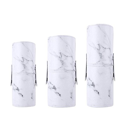 Marble Makeup Brush Holder PU Leather Travelling Portable Cosmetics Makeup Cup Storage Organizer Case Marble by Path Beauty