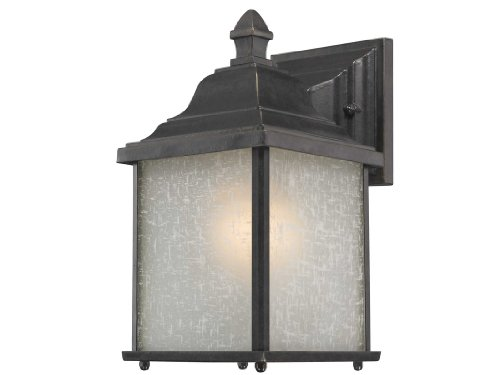 (Dolan Designs 931-68 Charleston - One Light Outdoor Wall Sconce, Winchester Finish with White Linen Glass )