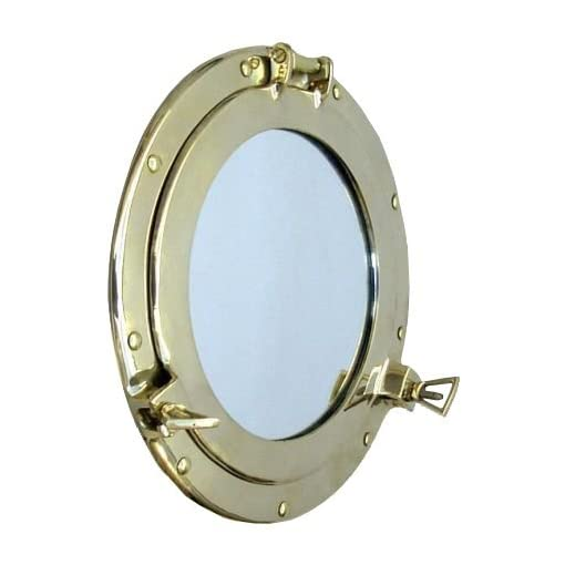 "12/"" Solid Brass Porthole Ring Windows Mirrors Frame Nautical Themed Home Decor"
