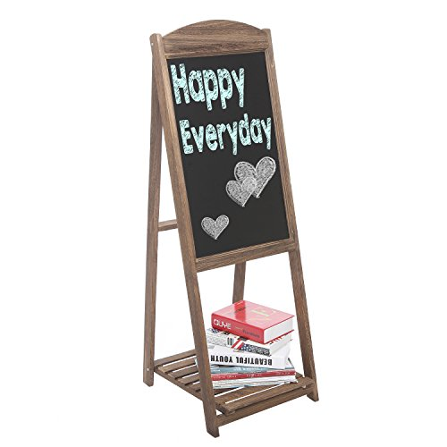 MyGift Rustic Wood A-Frame Easel Chalkboard, Erasable Memo Board w/Shelf, Brown by MyGift (Image #2)