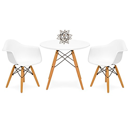 Set Game Table Room Dining (Best Choice Products Kids Mid-Century Modern Mini Eames Style Multifunctional Round Table Set for Bedroom, Playroom, Dining Room w/ 2 Wood Leg Chairs - White)