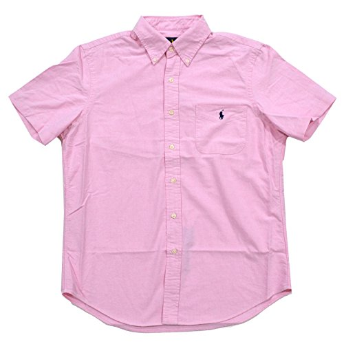 Polo Ralph Lauren Mens Short Sleeve Pocket Buttondown (Medium, New Rose)