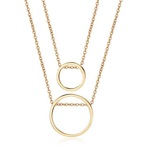 LILIE&WHITE Women Double Chain Through Circle Layer Pendant Necklace - Pendant Circle Double Necklace