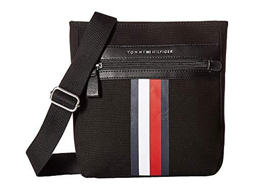 Tommy Hilfiger Men's Icon Crossbody Canvas Black One Size (Mens Crossover Shoulder Bag)