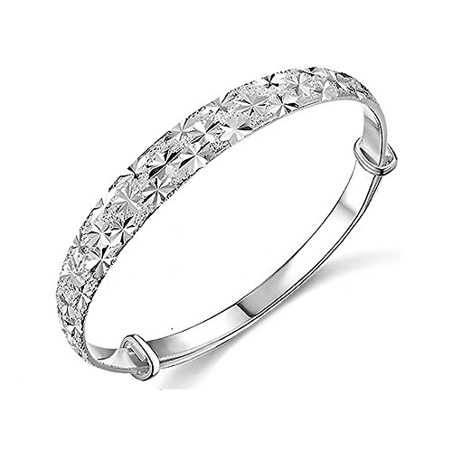 Price comparison product image NIHAI Charm Bangle Bracelet for Women,  Gypsophila Silver Cuff Bracelet Wristband Jewelry for Girls Birthday Valentines Day Thanksgiving Gift
