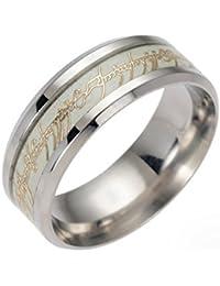 La de los hombres Anillo Señor de los anillos que brilla en la oscuridad luminoso banda de acero inoxidable para...