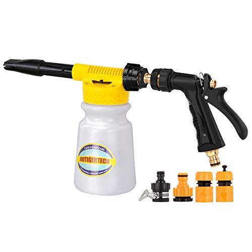 Hutigertech Car Foam Gun Foam Blaster with The Adjustment dial, Car Wash Sprayer Foamer Fit Garden Hose for Car Motorcycle Home Garden Cleaning (Best Foam Car Wash Gun)