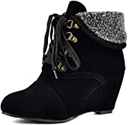 OOLG Women's Winter Fur Wedge Ankle Boots Chunky High Heel Round Toe Lace Up Suede Cuff Dressy Short Bo