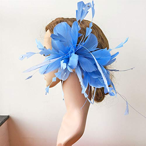 Periwinkle Fascinator Plumage Flowers Hair Decoration Handmade Feather Art Stunning Addition for Special Occasion ()