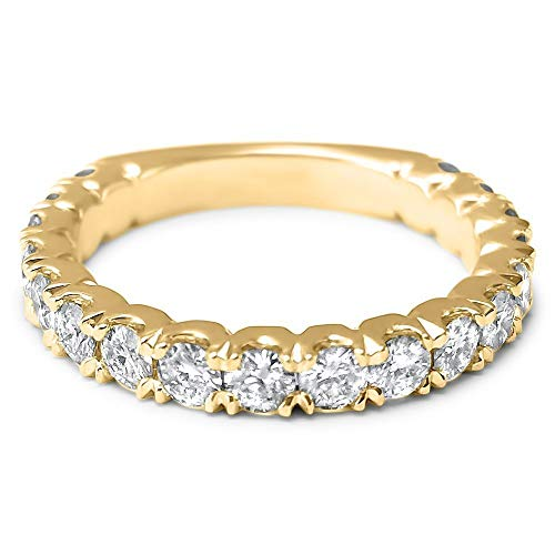 Brilliant Ring Round Eternity Diamond - 18 stone 14k Yellow gold Forever ONE moissanite half eternity wedding ring u cut art deco wedding band bridal ring 1.08 Carats total
