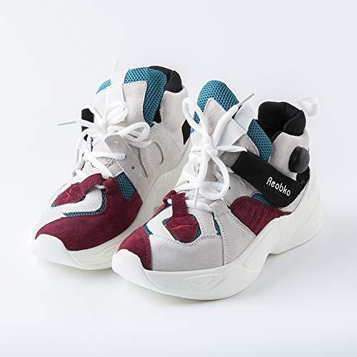 Sneaker de Transpirables Invierno Malla Zapatos Rojo Casuales Otoño Las de Plataforma Deportivos 2018 Zapatos Vansney Mujeres Zapatos Clunky qgH1wa
