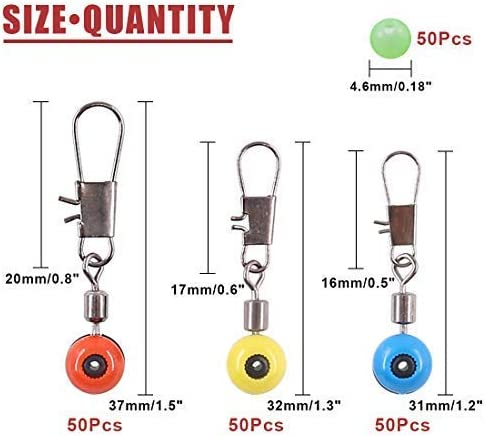 LHQ-HQ 200 Pcs 3 Sizes Stainless Steel Fishing Line Sinker Slide with Glowing Fishing Beads Large//Medium//Small Sizes High Strength Hook Shank Clip Connector Fishing Ball Bearing Swivel Connector