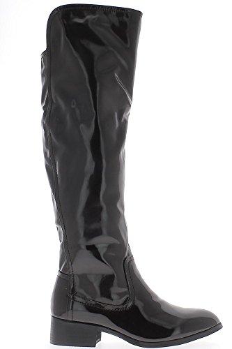 Muslo botas marrón mujer rellena con tacón de 3,5 cm aspecto barnizado
