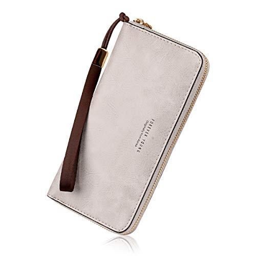 Wallets for Women, Long Leather Checkbook Card Holder Purse Zipper Buckle Elegant Clutch Ladies Wallet Coin Purse (Grey)
