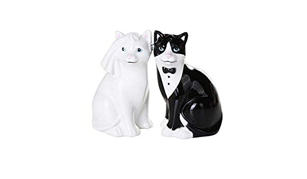 Kitty Cat Figurine Holding Welcome Sign Black and White Tuxedo Cat Kitten Statue