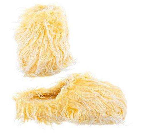Gele Fuzzy Slippers Voor Vrouwen M 6.5-7.5