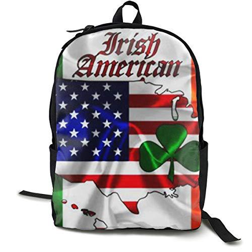 Irish American Flag Daypack, Large Capacity Shoulder Bag Travel Hiking Backpack, College School Bookbag Gym Outdoor Hiking Bag Laptop Backpack Daypack ()