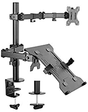 Brateck Economical Double-Joint Articulating Monitor Arm with Laptop Holder