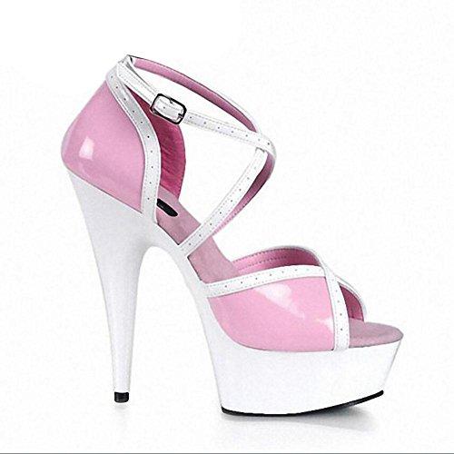 Printemps et en automne en cuir véritable talons super élevé de femmes imperméables Souliers de mode de demoiselle d'honneur femme , pink , 38