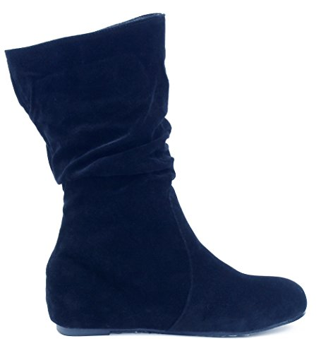 Imitated Shoes Soft AgeeMi Boots On Black Inside Women's Slip Suede Heighten Calf YqHBwq