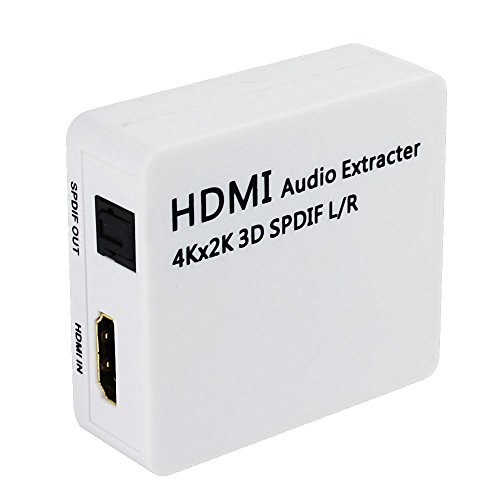 HDMI Audio Extractor, SQDeal 4K x 2K HDMI to HDMI + Optical Toslink(SPDIF) + 2RCA(L/R) Analog Outputs Video Splitter Adapter Converter(Black) by SQDeal