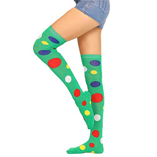 Womens Long Colorful Polka Socks Girls Over Knee Thigh High Crazy Fun Clown Cosplay Costume Party Performance -